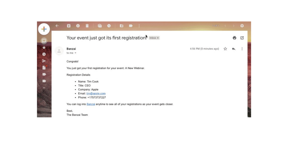 Banzai Watcher Feature Email Notification