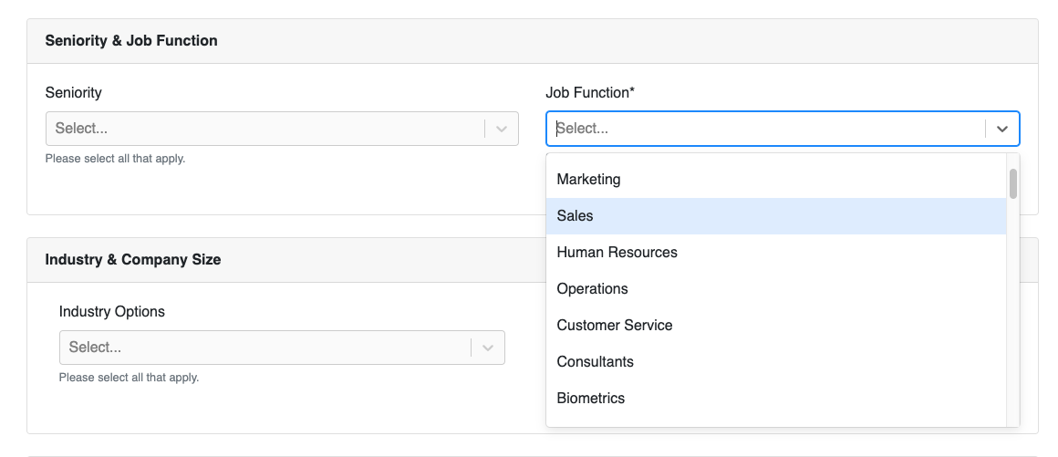 Create target audience with job functions